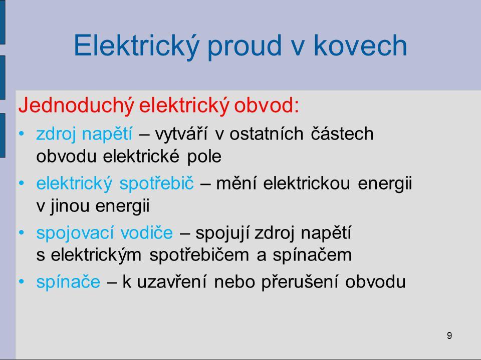 Elektrický proud v kovech Jednoduchý elektrický obvod: zdroj napětí – vytváří v ostatních částech obvodu elektrické pole elektrický spotřebič – mění e