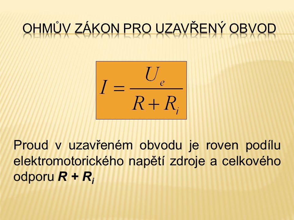 Proud v uzavřeném obvodu je roven podílu elektromotorického napětí zdroje a celkového odporu R + R i