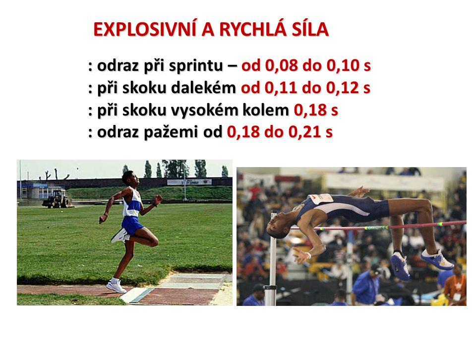EXPLOSIVNÍ A RYCHLÁ SÍLA : odraz při sprintu – od 0,08 do 0,10 s : při skoku dalekém od 0,11 do 0,12 s : při skoku vysokém kolem 0,18 s : odraz pažemi