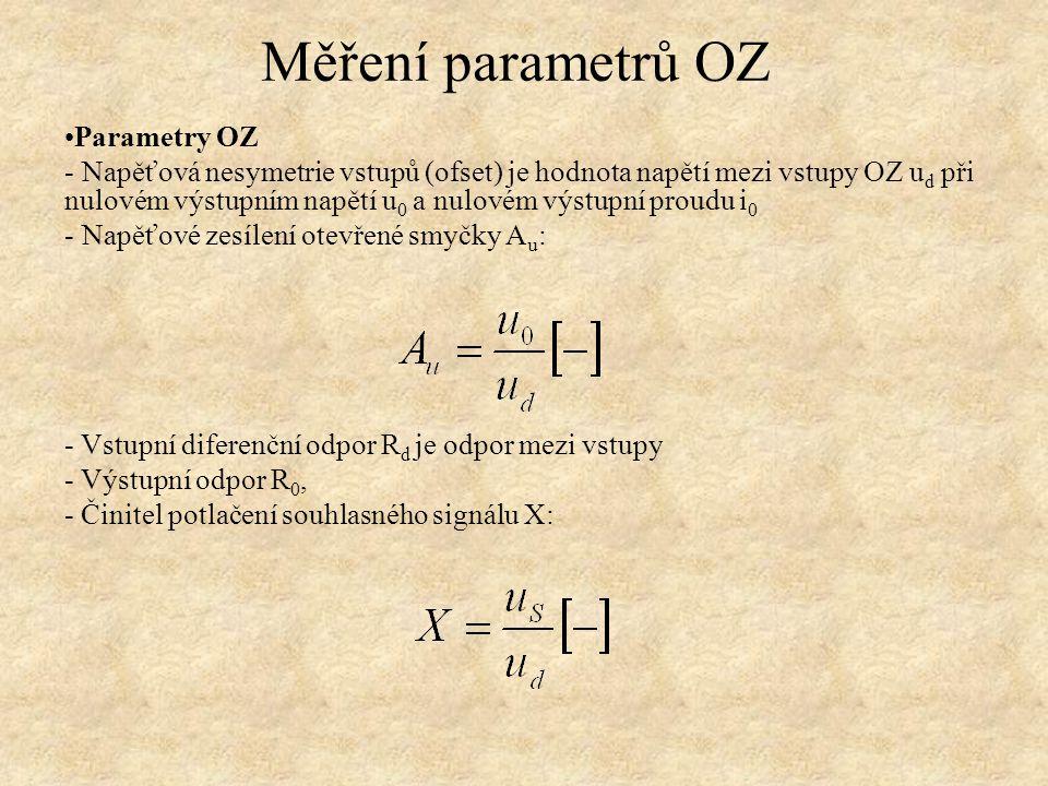 Parametry OZ - Napěťová nesymetrie vstupů (ofset) je hodnota napětí mezi vstupy OZ u d při nulovém výstupním napětí u 0 a nulovém výstupní proudu i 0 - Napěťové zesílení otevřené smyčky A u : - Vstupní diferenční odpor R d je odpor mezi vstupy - Výstupní odpor R 0, - Činitel potlačení souhlasného signálu X: Měření parametrů OZ