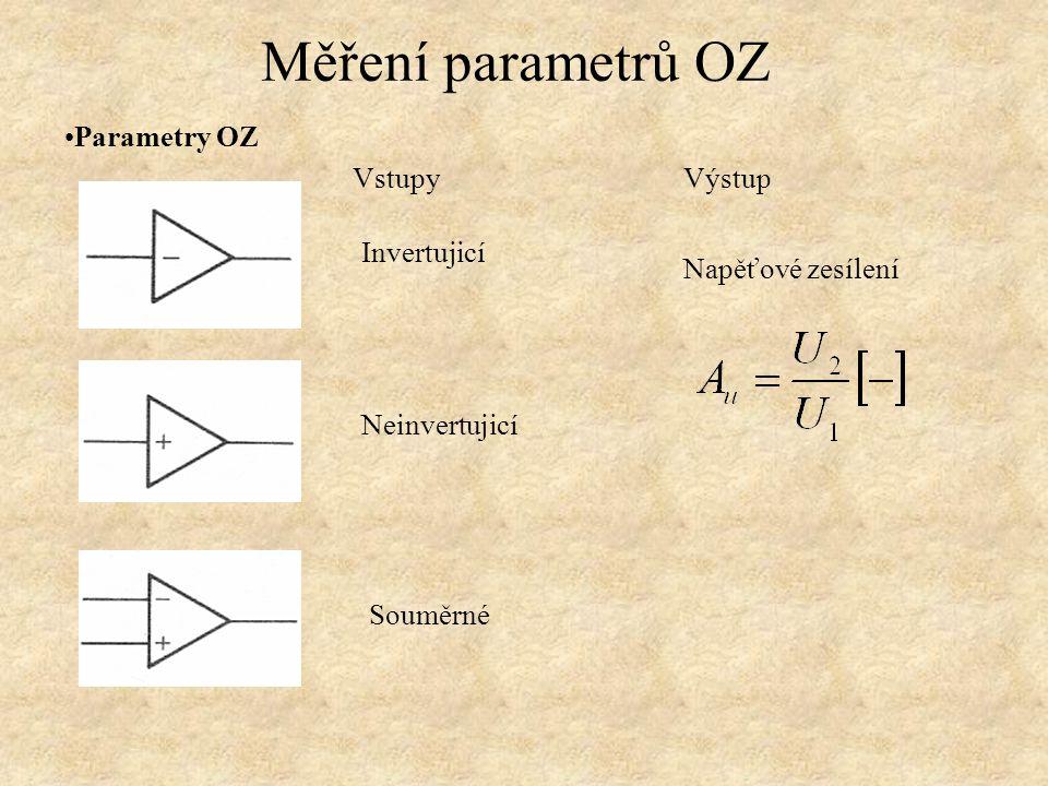Parametry OZ Měření parametrů OZ Invertujicí Neinvertujicí Souměrné Vstupy Napěťové zesílení Výstup
