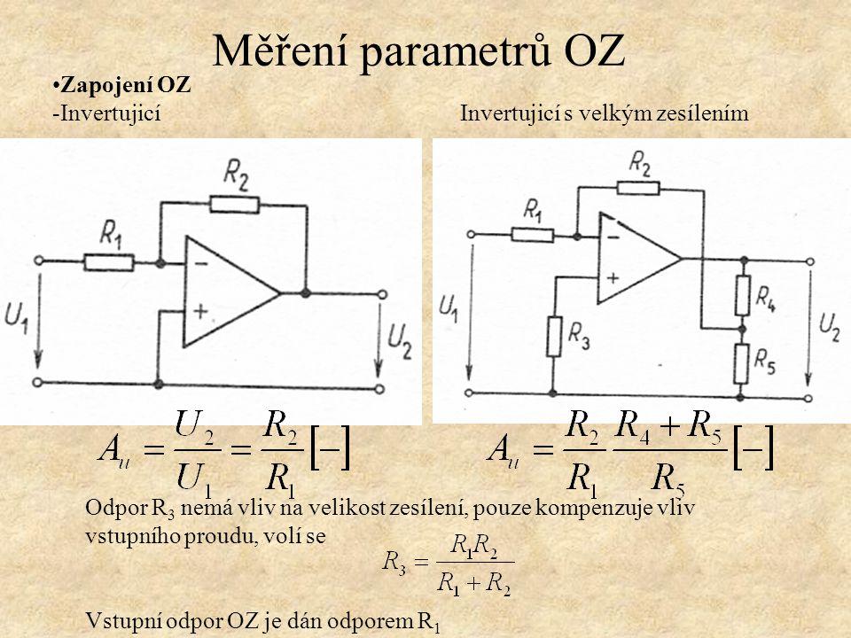 Zapojení OZ -Invertujicí Invertujicí s velkým zesílením Měření parametrů OZ Odpor R 3 nemá vliv na velikost zesílení, pouze kompenzuje vliv vstupního proudu, volí se Vstupní odpor OZ je dán odporem R 1