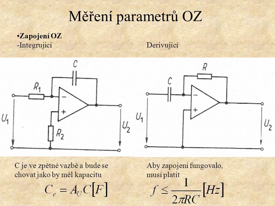 Zapojení OZ -Integrujicí Derivujicí Měření parametrů OZ Aby zapojení fungovalo, musí platit C je ve zpětné vazbě a bude se chovat jako by měl kapacitu