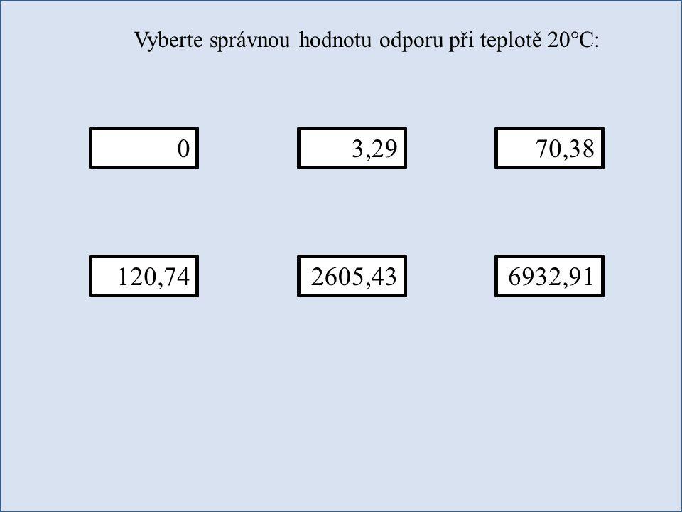 Vyberte správnou hodnotu odporu při teplotě 20°C: 070,383,29 120,742605,436932,91
