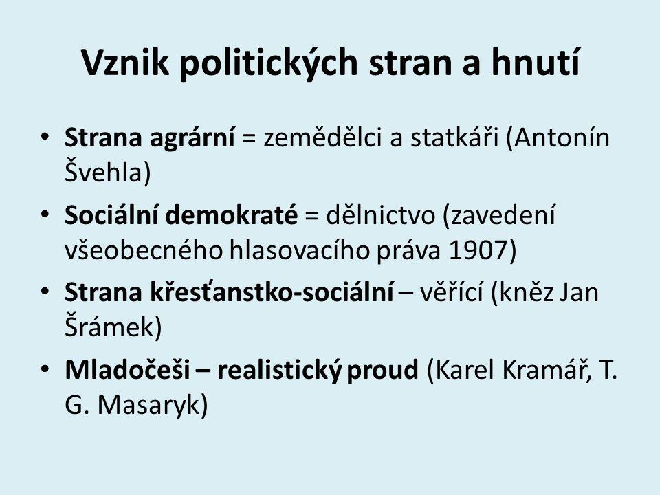 Vznik politických stran a hnutí Strana agrární = zemědělci a statkáři (Antonín Švehla) Sociální demokraté = dělnictvo (zavedení všeobecného hlasovacíh