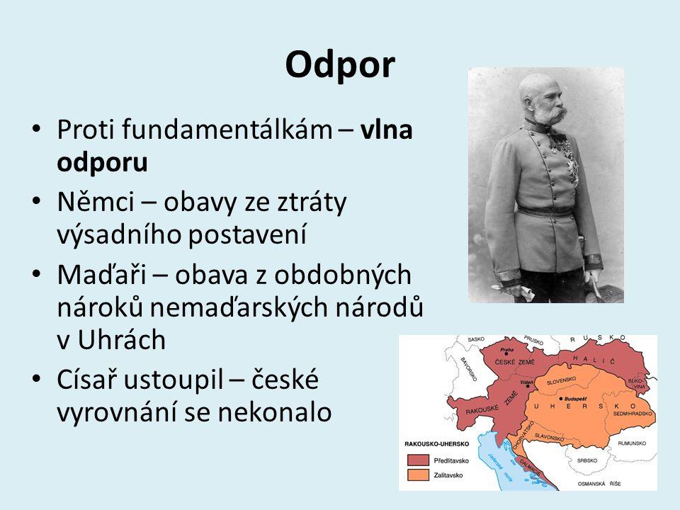 Odpor Proti fundamentálkám – vlna odporu Němci – obavy ze ztráty výsadního postavení Maďaři – obava z obdobných nároků nemaďarských národů v Uhrách Cí
