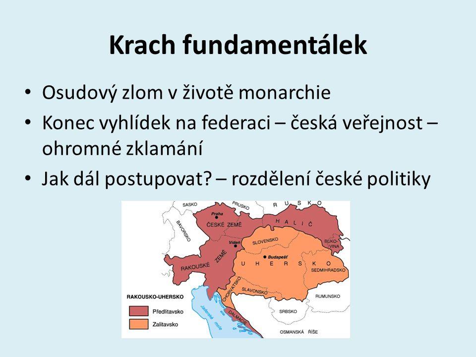 Krach fundamentálek Osudový zlom v životě monarchie Konec vyhlídek na federaci – česká veřejnost – ohromné zklamání Jak dál postupovat? – rozdělení če