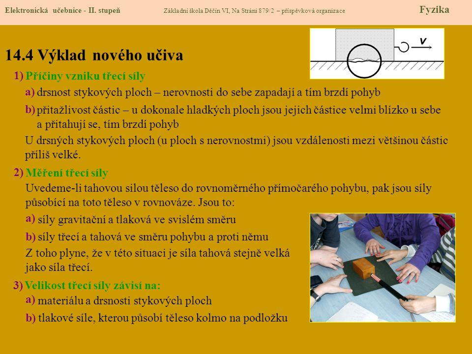 14.4 Výklad nového učiva Elektronická učebnice - II. stupeň Základní škola Děčín VI, Na Stráni 879/2 – příspěvková organizace Fyzika 1) 2) 3) Příčiny