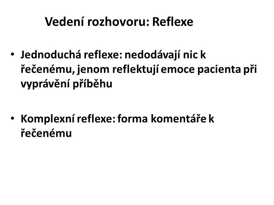 Vedení rozhovoru: Reflexe Jednoduchá reflexe: nedodávají nic k řečenému, jenom reflektují emoce pacienta při vyprávění příběhu Komplexní reflexe: form