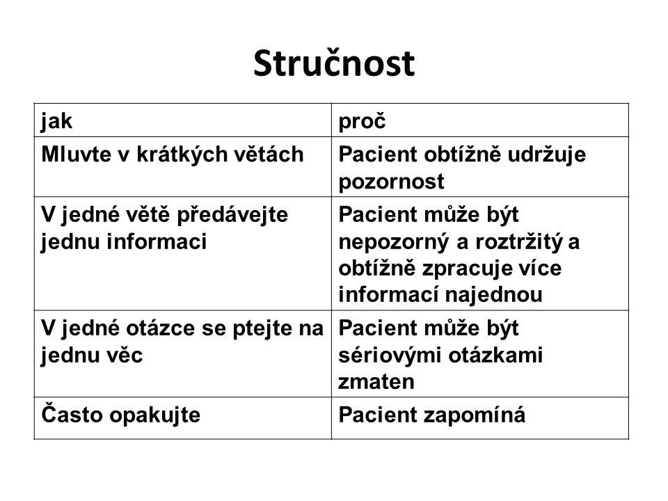 Stručnost jakproč Mluvte v krátkých větáchPacient obtížně udržuje pozornost V jedné větě předávejte jednu informaci Pacient může být nepozorný a roztr