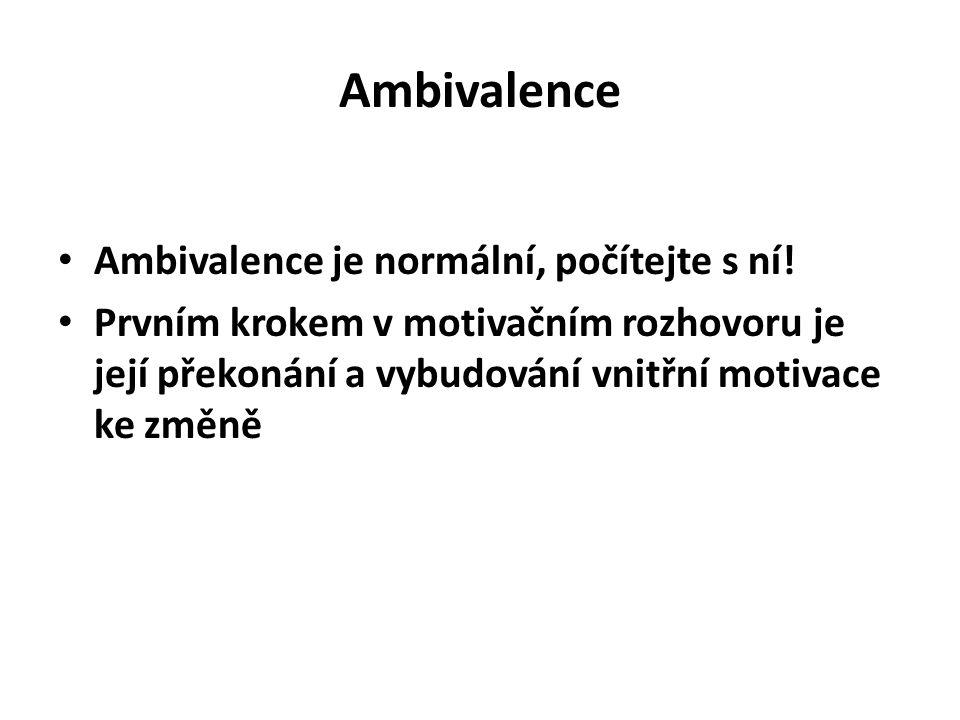 Ambivalence Ambivalence je normální, počítejte s ní! Prvním krokem v motivačním rozhovoru je její překonání a vybudování vnitřní motivace ke změně