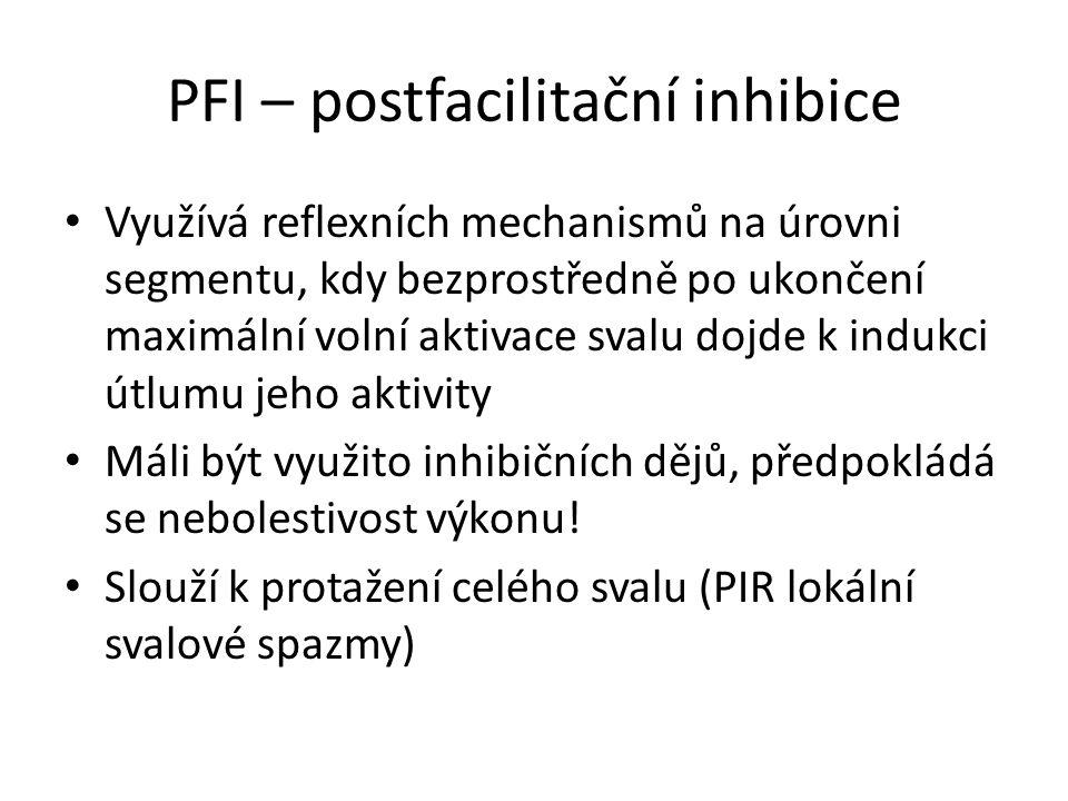 PFI – postfacilitační inhibice Využívá reflexních mechanismů na úrovni segmentu, kdy bezprostředně po ukončení maximální volní aktivace svalu dojde k