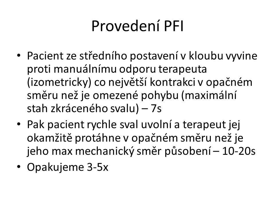 Provedení PFI Pacient ze středního postavení v kloubu vyvine proti manuálnímu odporu terapeuta (izometricky) co největší kontrakci v opačném směru než