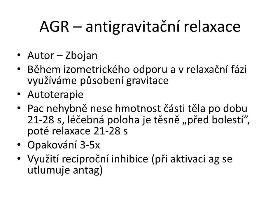 AGR – antigravitační relaxace Autor – Zbojan Během izometrického odporu a v relaxační fázi využíváme působení gravitace Autoterapie Pac nehybně nese h
