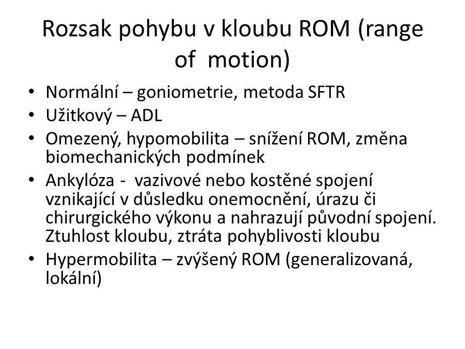Rozsak pohybu v kloubu ROM (range of motion) Normální – goniometrie, metoda SFTR Užitkový – ADL Omezený, hypomobilita – snížení ROM, změna biomechanic