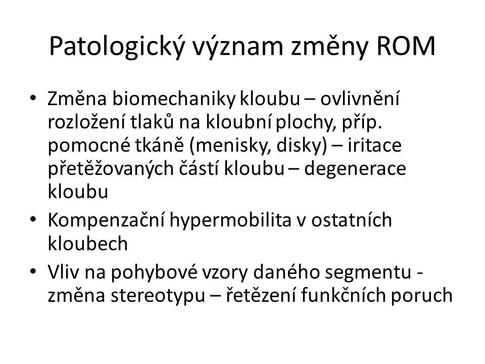 Patologický význam změny ROM Změna biomechaniky kloubu – ovlivnění rozložení tlaků na kloubní plochy, příp. pomocné tkáně (menisky, disky) – iritace p