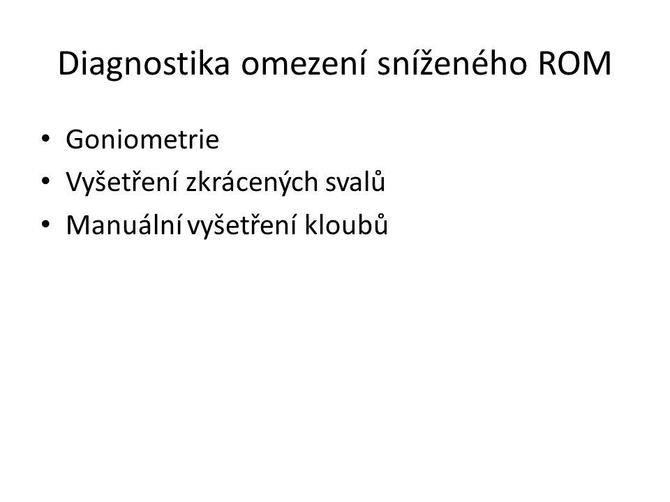 Diagnostika omezení sníženého ROM Goniometrie Vyšetření zkrácených svalů Manuální vyšetření kloubů