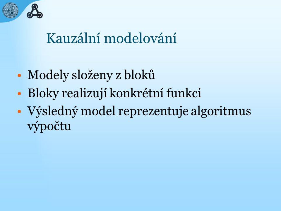 Kauzální modelování Modely složeny z bloků Bloky realizují konkrétní funkci Výsledný model reprezentuje algoritmus výpočtu