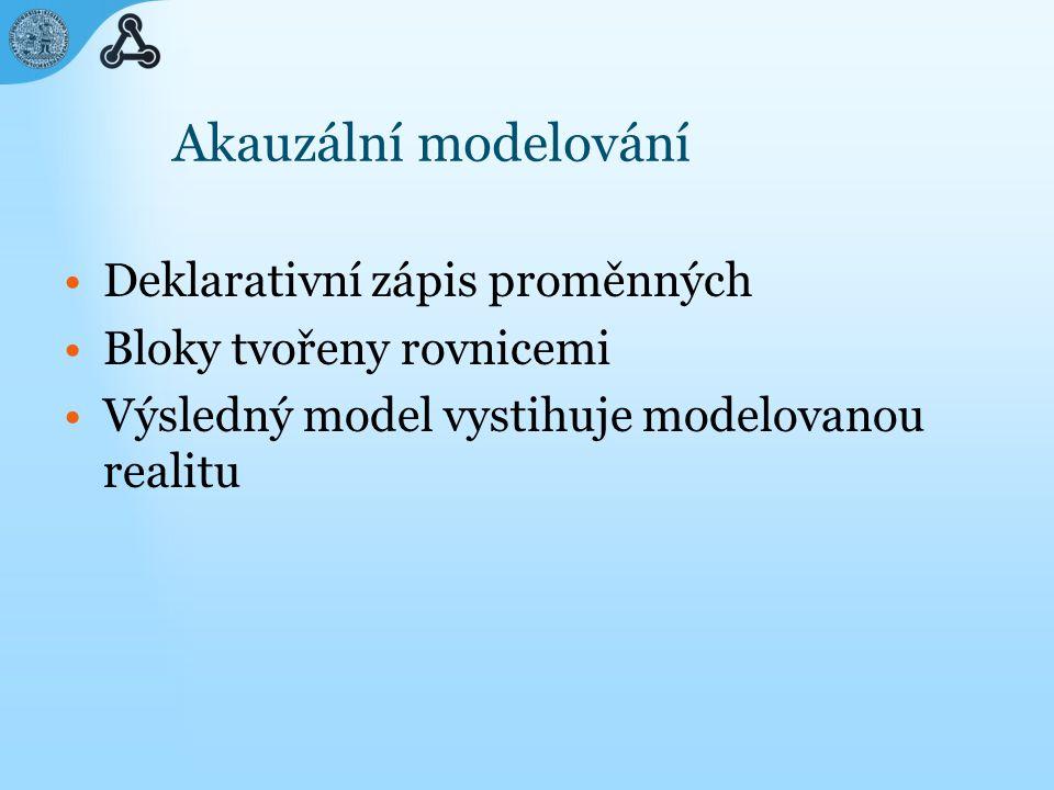 Akauzální modelování Deklarativní zápis proměnných Bloky tvořeny rovnicemi Výsledný model vystihuje modelovanou realitu