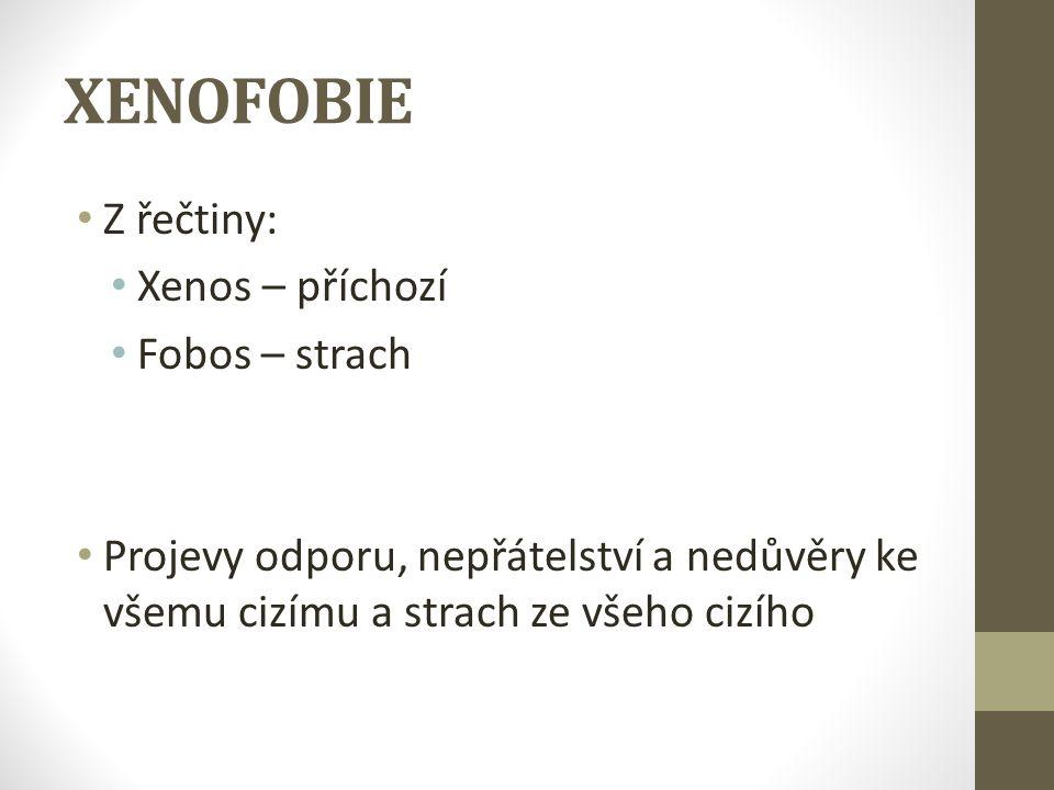 XENOFOBIE Z řečtiny: Xenos – příchozí Fobos – strach Projevy odporu, nepřátelství a nedůvěry ke všemu cizímu a strach ze všeho cizího