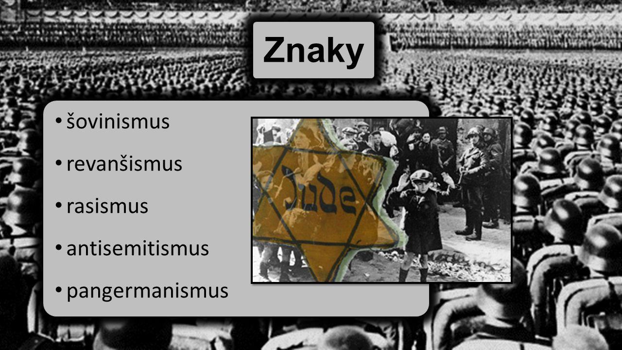 Znaky šovinismus revanšismus rasismus antisemitismus pangermanismus