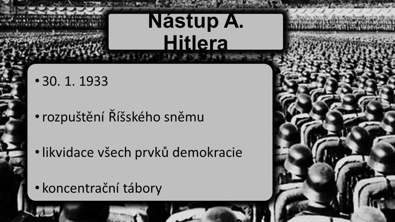 Nástup A. Hitlera 30. 1. 1933 rozpuštění Říšského sněmu likvidace všech prvků demokracie koncentrační tábory