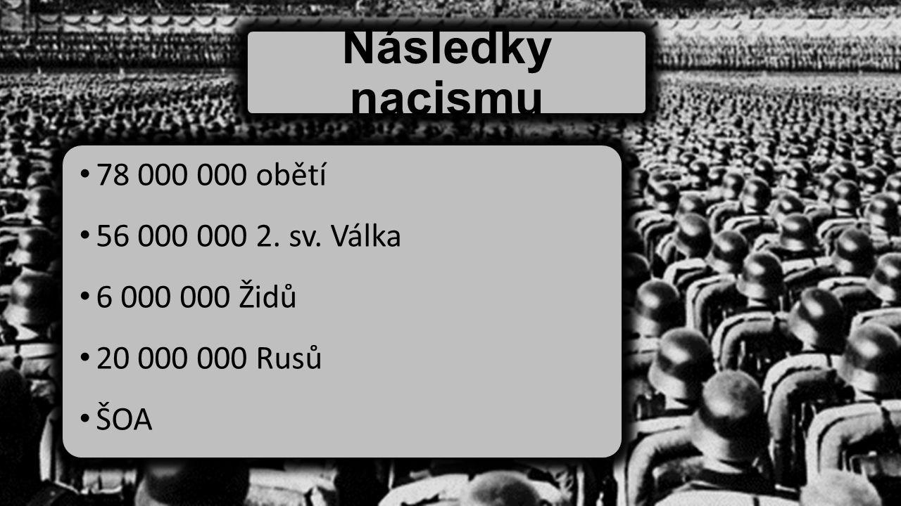 Následky nacismu 78 000 000 obětí 56 000 000 2. sv. Válka 6 000 000 Židů 20 000 000 Rusů ŠOA