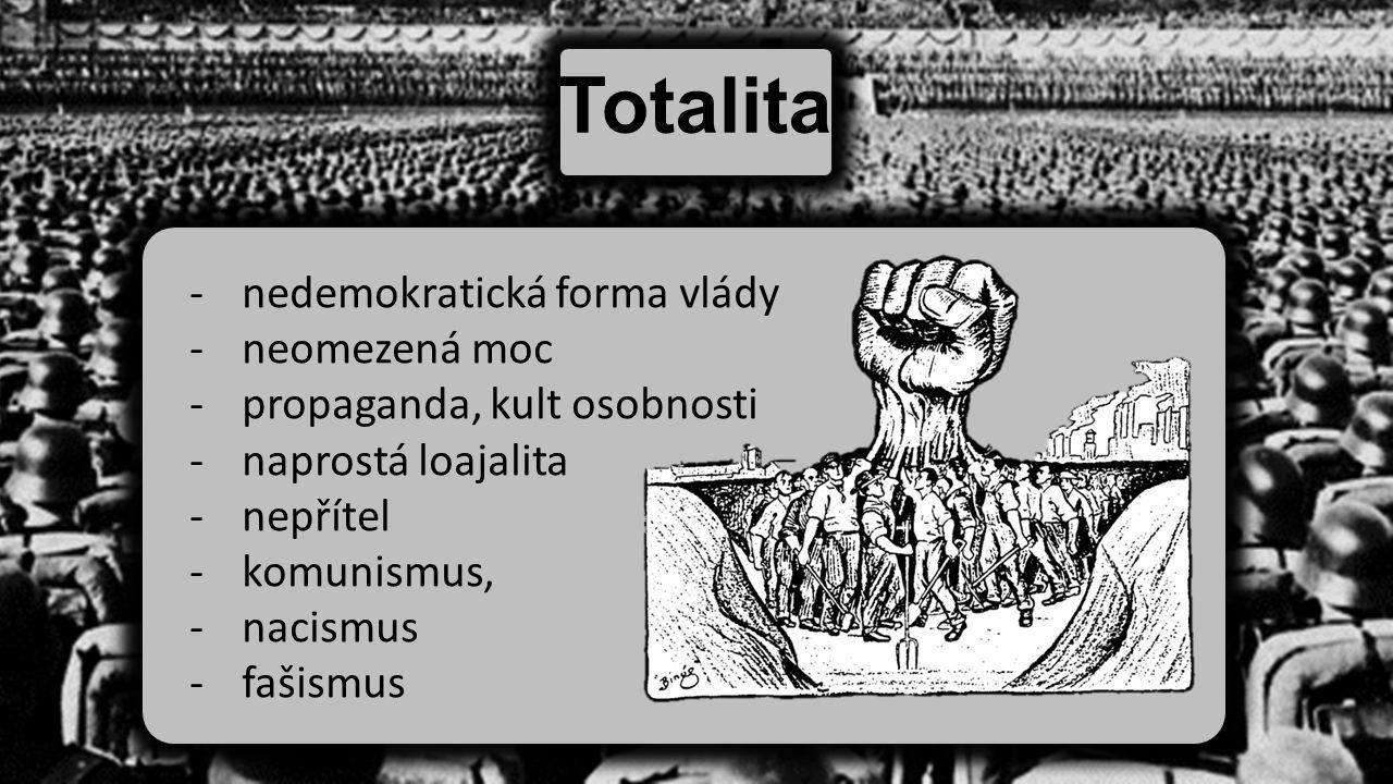 Totalita -nedemokratická forma vlády -neomezená moc -propaganda, kult osobnosti -naprostá loajalita -nepřítel -komunismus, -nacismus -fašismus