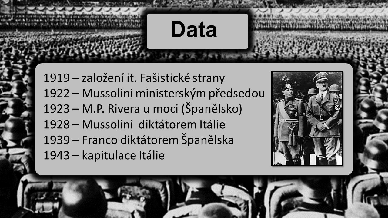 Data 1919 – založení it. Fašistické strany 1922 – Mussolini ministerským předsedou 1923 – M.P. Rivera u moci (Španělsko) 1928 – Mussolini diktátorem I