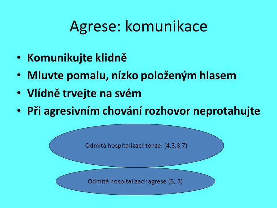 Agrese: komunikace Komunikujte klidně Mluvte pomalu, nízko položeným hlasem Vlídně trvejte na svém Při agresivním chování rozhovor neprotahujte Odmítá