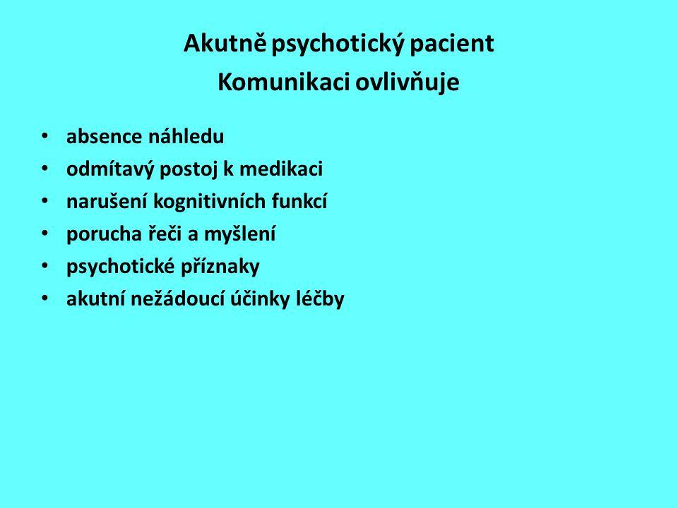 Akutně psychotický pacient Komunikaci ovlivňuje absence náhledu odmítavý postoj k medikaci narušení kognitivních funkcí porucha řeči a myšlení psychot