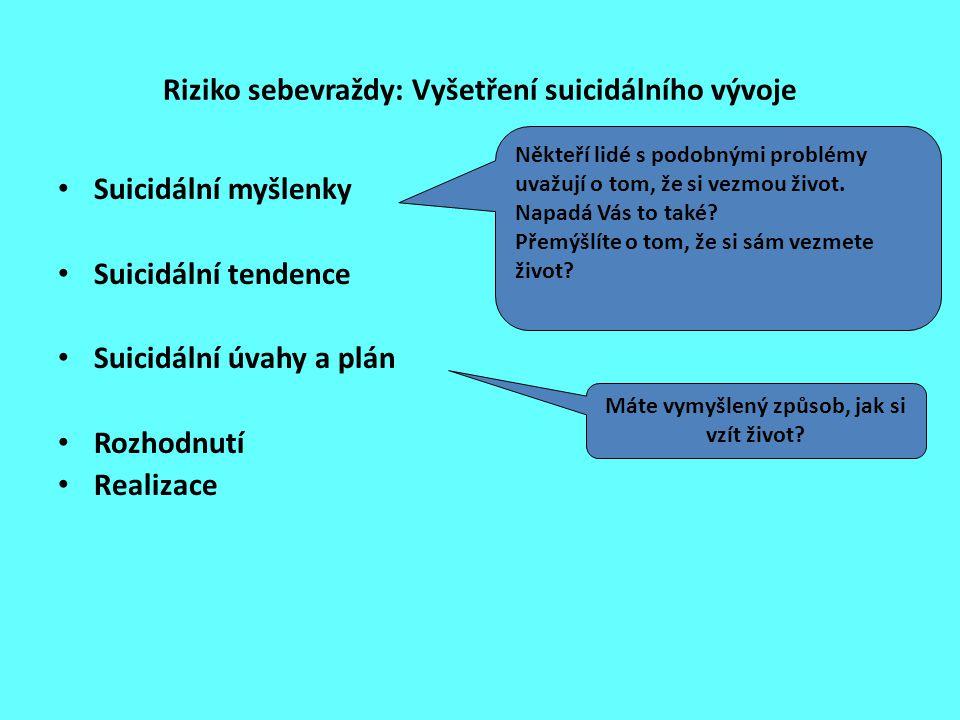 Riziko sebevraždy: Vyšetření suicidálního vývoje Suicidální myšlenky Suicidální tendence Suicidální úvahy a plán Rozhodnutí Realizace Někteří lidé s p