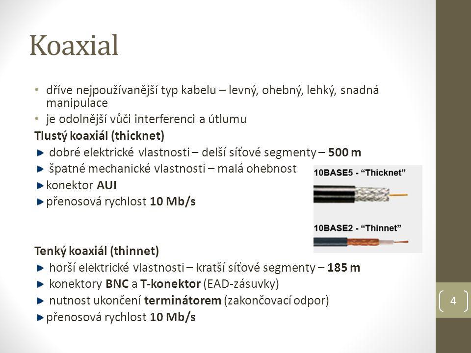 Koaxial dříve nejpoužívanější typ kabelu – levný, ohebný, lehký, snadná manipulace je odolnější vůči interferenci a útlumu Tlustý koaxiál (thicknet) dobré elektrické vlastnosti – delší síťové segmenty – 500 m špatné mechanické vlastnosti – malá ohebnost konektor AUI přenosová rychlost 10 Mb/s Tenký koaxiál (thinnet) horší elektrické vlastnosti – kratší síťové segmenty – 185 m konektory BNC a T-konektor (EAD-zásuvky) nutnost ukončení terminátorem (zakončovací odpor) přenosová rychlost 10 Mb/s 4