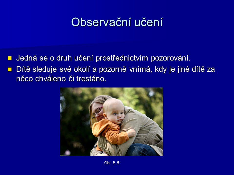 Observační učení Jedná se o druh učení prostřednictvím pozorování. Jedná se o druh učení prostřednictvím pozorování. Dítě sleduje své okolí a pozorně