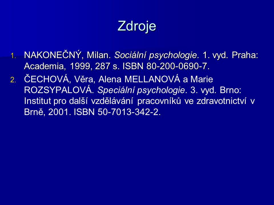 Zdroje 1. NAKONEČNÝ, Milan. Sociální psychologie. 1. vyd. Praha: Academia, 1999, 287 s. ISBN 80-200-0690-7. 2. 2. ČECHOVÁ, Věra, Alena MELLANOVÁ a Mar
