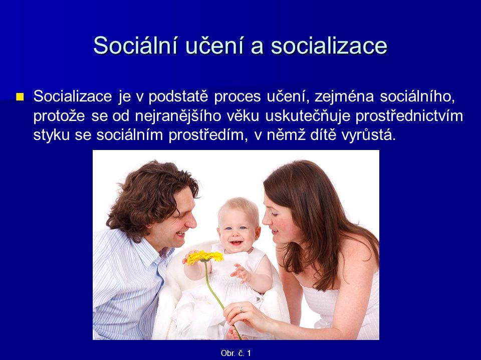 Sociální učení a socializace Socializace je v podstatě proces učení, zejména sociálního, protože se od nejranějšího věku uskutečňuje prostřednictvím s