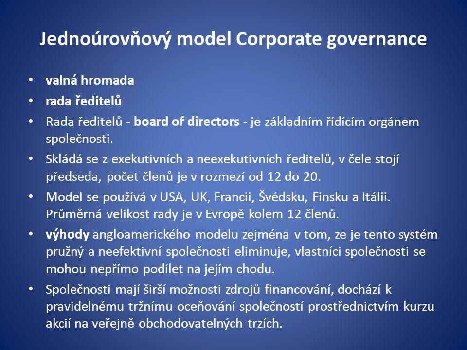 Jednoúrovňový model Corporate governance valná hromada rada ředitelů Rada ředitelů - board of directors - je základním řídícím orgánem společnosti. Sk