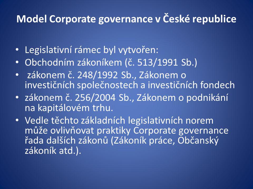 Model Corporate governance v České republice Legislativní rámec byl vytvořen: Obchodním zákoníkem (č. 513/1991 Sb.) zákonem č. 248/1992 Sb., Zákonem o
