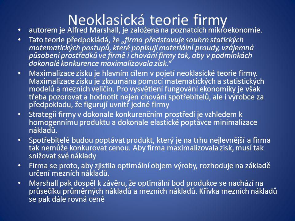 Behaviorální teorie firmy jako alternativa k teorii neoklasické.