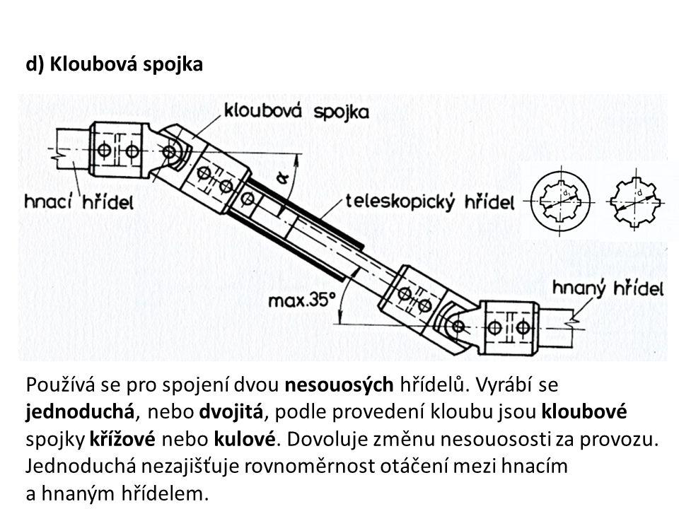 d) Kloubová spojka Používá se pro spojení dvou nesouosých hřídelů. Vyrábí se jednoduchá, nebo dvojitá, podle provedení kloubu jsou kloubové spojky kří