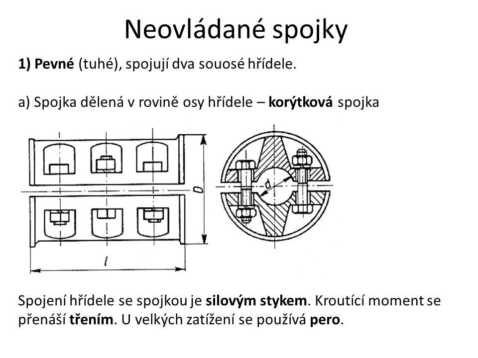 Neovládané spojky 1) Pevné (tuhé), spojují dva souosé hřídele. a) Spojka dělená v rovině osy hřídele – korýtková spojka Spojení hřídele se spojkou je