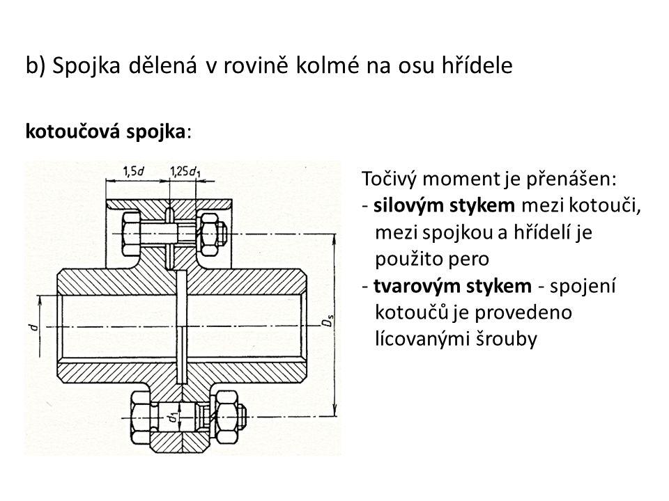 b) Spojka dělená v rovině kolmé na osu hřídele kotoučová spojka: Točivý moment je přenášen: - silovým stykem mezi kotouči, mezi spojkou a hřídelí je p