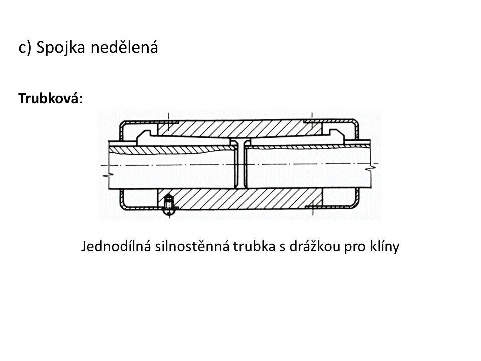 c) Spojka nedělená Trubková: Jednodílná silnostěnná trubka s drážkou pro klíny