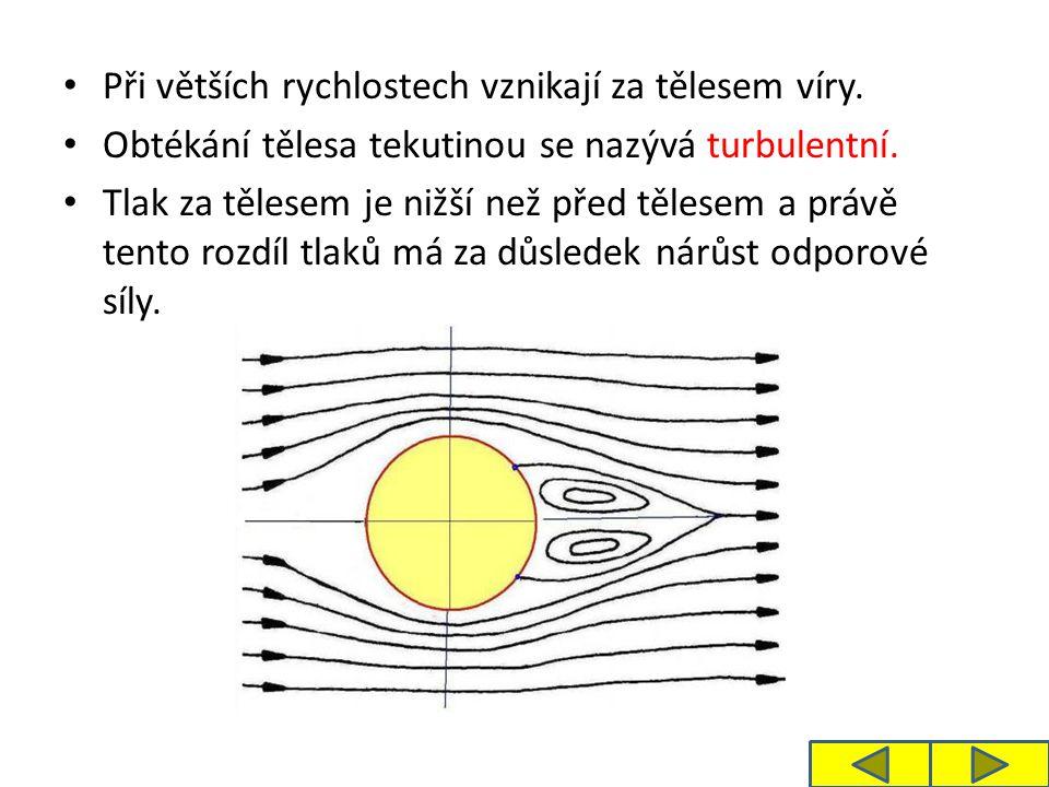 Při větších rychlostech vznikají za tělesem víry. Obtékání tělesa tekutinou se nazývá turbulentní.