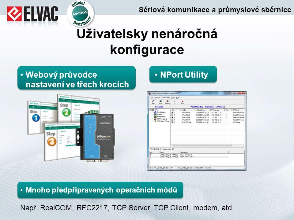 Uživatelsky nenáročná konfigurace Webový průvodce nastavení ve třech krocích NPort Utility Mnoho předpřipravených operačních módů Např. RealCOM, RFC22