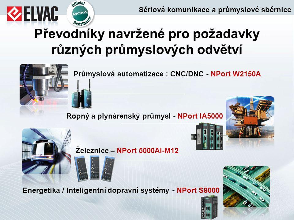 Převodníky navržené pro požadavky různých průmyslových odvětví Železnice – NPort 5000AI-M12 Průmyslová automatizace : CNC/DNC - NPort W2150A Energetik