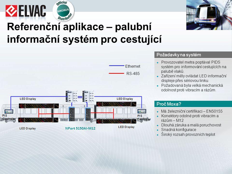 Referenční aplikace – palubní informační systém pro cestující  Má železniční certifikaci – EN50155  Konektory odolné proti vibracím a rázům – M12 