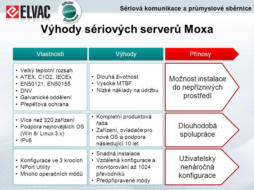 Výhody sériových serverů Moxa Dlouhá životnost Vysoké MTBF Nízké náklady na údržbu Kompletní produktová řada Zařízení, ovladače pro nové OS a podpora