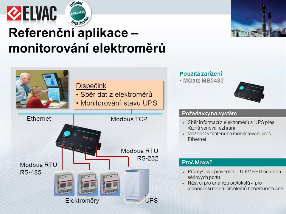 Referenční aplikace – monitorování elektroměrů  Průmyslové provedení - 15KV ESD ochrana sériových portů  Nástroj pro analýzu protokolů - pro jednodu