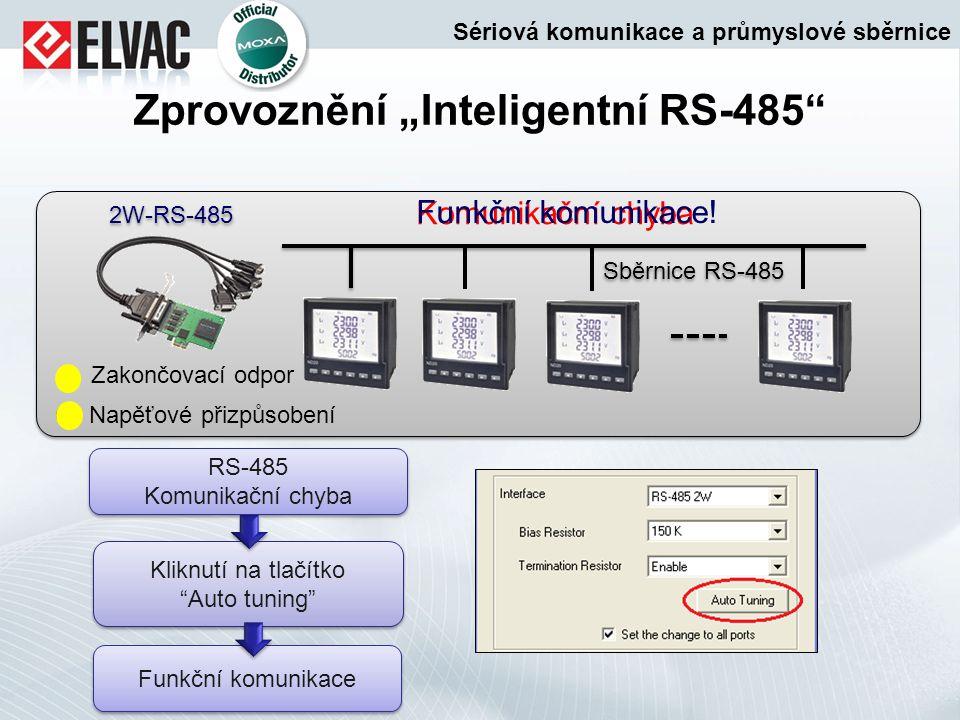 """Zprovoznění """"Inteligentní RS-485"""" 2W-RS-485 Sběrnice RS-485 Zakončovací odpor Napěťové přizpůsobení Komunikační chyba Kliknutí na tlačítko """"Auto tunin"""